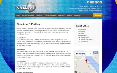Screenshot of Maps & Directions Page nextact.org - Directions & Parking - Next Act Theatre - captured Oct. 26, 2014