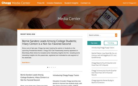 Screenshot of Press Page chegg.com - Corporate Blog - Media Center - captured July 3, 2016