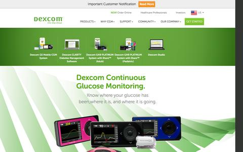 Screenshot of Products Page dexcom.com - Dexcom - Continuous Glucose Monitoring Devices & Systems | Dexcom - captured Feb. 24, 2016