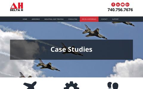 Screenshot of Case Studies Page delta-h.com - Case Studies - Delta H Technologies, LLC - captured Oct. 7, 2018