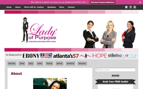 Screenshot of About Page ladyofpurpose.info - About - Lady of Purpose - Network for Women - captured Jan. 24, 2016