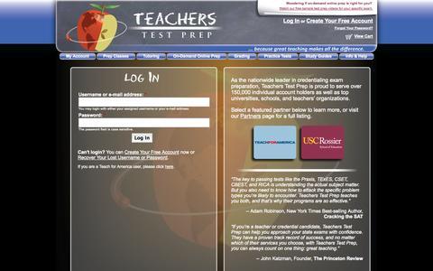Screenshot of Login Page teacherstestprep.com - Log In to Your Account | Teachers Test Prep - captured Sept. 19, 2014