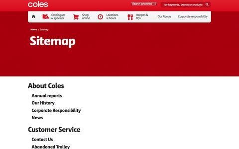 Screenshot of Site Map Page coles.com.au - Sitemap | Coles - captured July 14, 2016