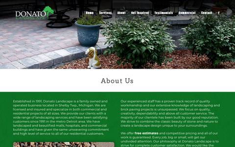 Screenshot of About Page donatolandscape.com - About Donato Landscape - A Family Owned Michigan Business - captured Aug. 7, 2018