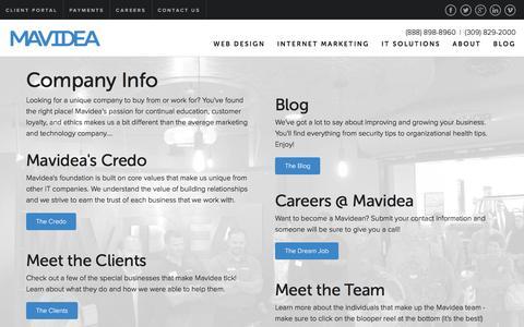 Screenshot of About Page mavidea.com - Company Info - Mavidea - captured Feb. 12, 2016