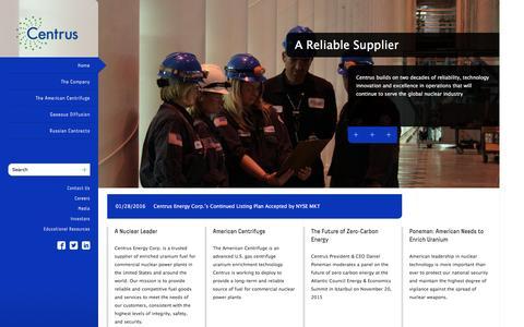 Screenshot of Home Page centrusenergy.com - home | Centrus Energy - captured Feb. 14, 2016