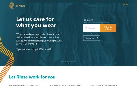 Screenshot of rinse.com - Rinse - Dry Cleaning and Laundry. Delivered. - captured July 10, 2018