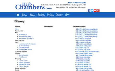 Screenshot of Site Map Page herbchambersmv-1.com - MV-1 of Massachusetts   New Inventory for sale in Burlington, MA 01803 - captured July 8, 2018