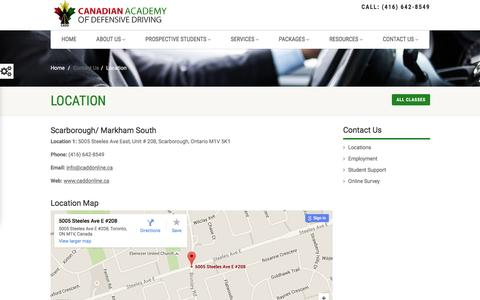 Screenshot of Contact Page Locations Page caddonline.ca - Toronto Driving School |Driving School Markham | Driving School Scarborough | Driving School Stouffville - captured Jan. 24, 2016