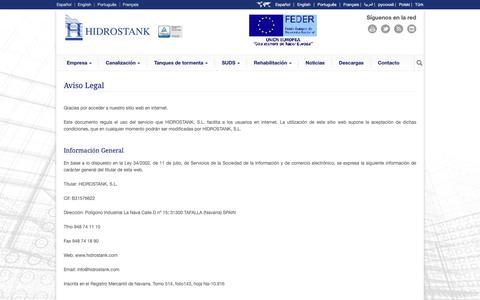 Screenshot of Terms Page hidrostank.com - Hidrostank   » Aviso Legal - captured Dec. 13, 2018