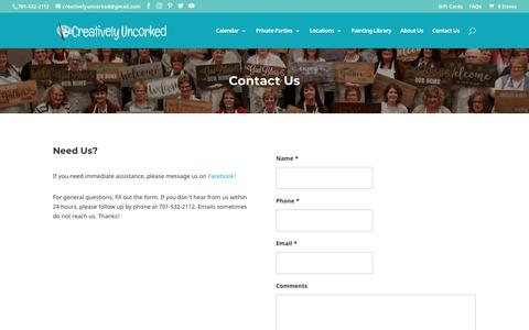 Screenshot of Contact Page creativelyuncorked.com - Contact Us   Creatively Uncorked - captured Nov. 5, 2018