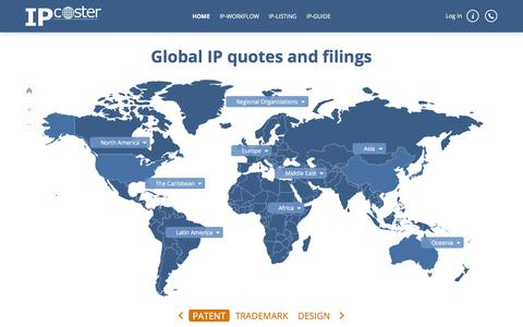 Screenshot of Home Page ip-coster.com - Free cost estimation for registration of IP types worldwide - captured Sept. 24, 2018