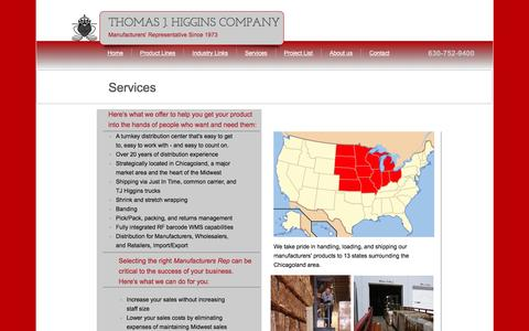 Screenshot of Services Page tjhiggins.com - Tj Higgins Co. - Plumbing Manufacturers Agency, Plumbing Supply Store, Wholesale Plumbing Supply - captured Feb. 16, 2016