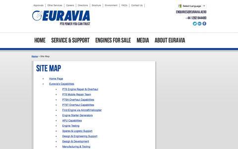 Screenshot of Site Map Page euravia.aero - Site Map | Euravia - captured Sept. 30, 2014