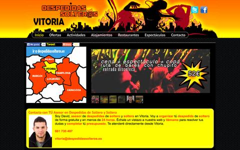Screenshot of Home Page despedidasdesolterovitoria.es - ► Despedidas de soltero en Vitoria, Tú Mejor Despedida. - captured Sept. 12, 2015