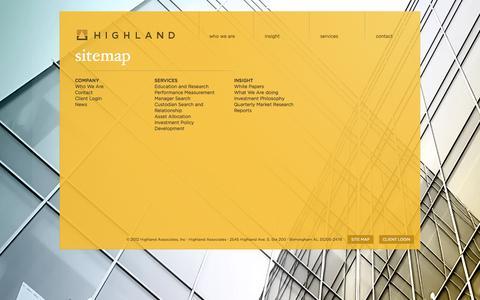 Screenshot of Site Map Page highlandassoc.com - Sitemap | Highland Associates - captured Oct. 2, 2014