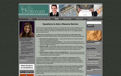 Screenshot of FAQ Page kellydonovan.com - Questions to Ask a Resume Service - Executive Resume Writing Services | Los Angeles Executive Resume Writer - captured Oct. 6, 2014