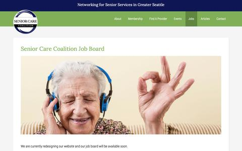 Screenshot of Jobs Page seniorcarecoalition.org - Senior Care Coalition Job Board - captured Oct. 21, 2018