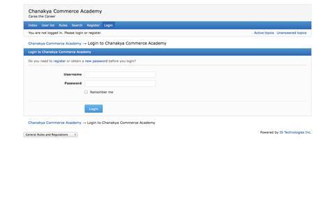 Screenshot of Login Page thechanakya.org - Login to Chanakya Commerce Academy — Chanakya Commerce Academy - captured Oct. 2, 2014