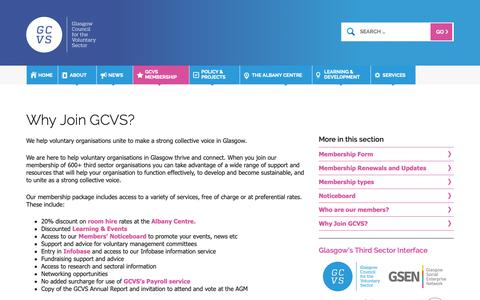 Screenshot of Support Page gcvs.org.uk - Glasgow Council for the Voluntary Sector | Why Join GCVS? - captured Sept. 28, 2018