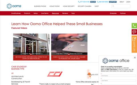 Screenshot of Case Studies Page ooma.com - Ooma Office Business Phone System Case Studies | Ooma Office - captured July 12, 2018