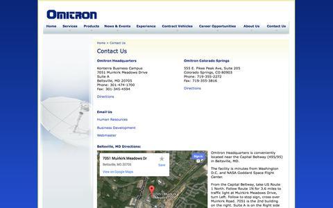 Screenshot of Contact Page omitron.com - Omitron Corporation - Contact Us - captured Oct. 7, 2014
