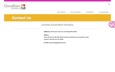 Screenshot of Contact Page goodstartgenetics.com - Good Start Genetics Contact Information | Good Start Genetics - captured July 4, 2016