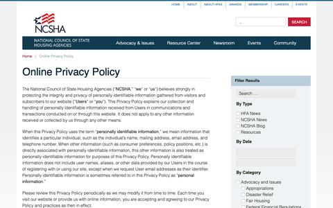 Screenshot of Privacy Page ncsha.org - Online Privacy Policy — NCSHA - captured Oct. 18, 2018