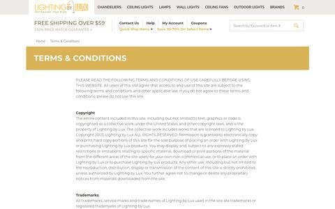 Screenshot of Terms Page lightingbylux.com - Terms & Conditions - captured Nov. 5, 2018