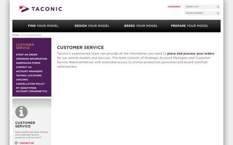 Screenshot of Support Page taconic.com - Customer Service | Taconic Biosciences, Inc. - captured Oct. 27, 2014