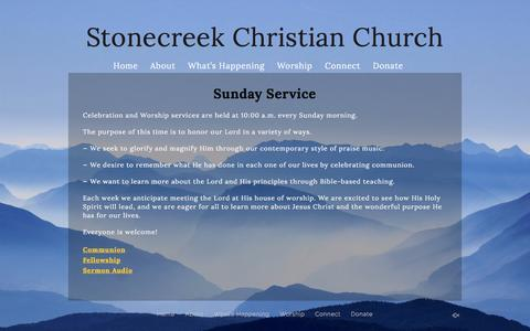 Screenshot of Services Page stonecreek.org - Services «  Stonecreek Christian Church - captured Sept. 27, 2016