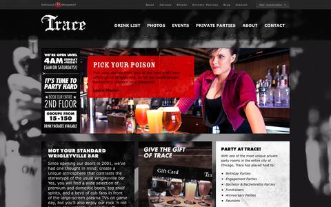 Screenshot of Home Page tracechicago.com - Wrigleyville Bar - Bars in Wrigleyville Chicago | Trace Chicago - captured Oct. 6, 2014