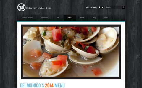 Screenshot of Menu Page dkbguam.com - Menu - Delmonico Kitchen & Bar - captured Oct. 5, 2014