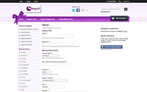 Screenshot of Signup Page rega-it.com - Rega IT - Signup - captured Oct. 26, 2014