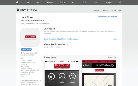 Screenshot of iOS App Page apple.com - Hart Shaw on the App Store on iTunes - captured Oct. 22, 2014