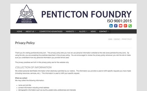 Screenshot of Privacy Page pentictonfoundry.com - Privacy policy for Penticton Foundry - captured July 17, 2018