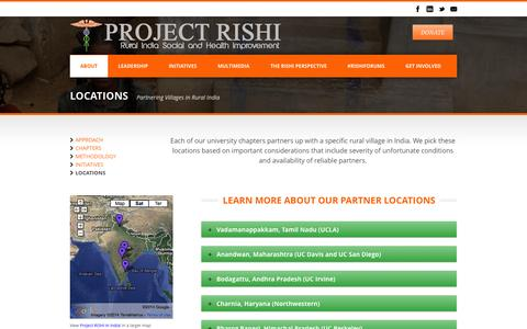 Screenshot of Locations Page projectrishi.org - Project RISHI (Rural India Social & Health Improvement)   » Locations - captured Sept. 30, 2014