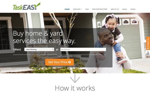 Screenshot of Home Page taskeasy.com - TaskEasy. Affordable professional home maintenance services! - captured Sept. 17, 2014