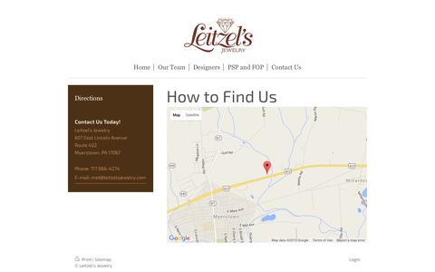 Screenshot of Maps & Directions Page leitzelsjewelry.com - Leitzel's Jewelry - Directions - captured Dec. 9, 2015