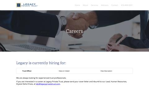 Screenshot of Jobs Page legacyprivatetrust.com - Legacy Private Trust: Careers - captured July 17, 2018