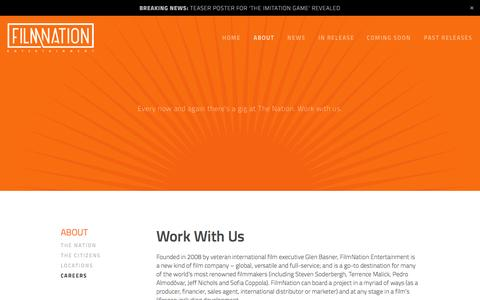 Screenshot of Jobs Page filmnation.com - Careers — FilmNation Entertainment - captured Oct. 5, 2014