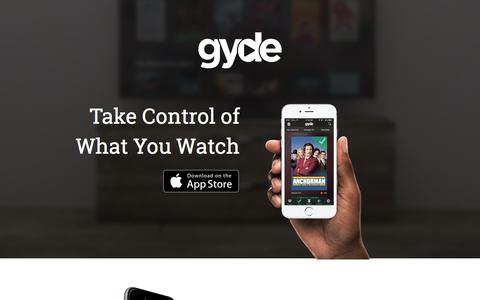 Screenshot of Home Page gyde.tv - Take Control of What You Watch. - Gyde - captured June 30, 2016