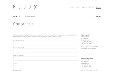Screenshot of Contact Page mujjo.com - Contact Us - Mujjo | - captured Oct. 18, 2018