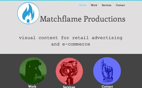 Screenshot of Home Page matchflameproductions.com - matchflame productions - captured Oct. 6, 2014
