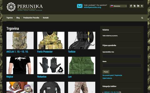Screenshot of Home Page perunika.org - Vojaška, policijska in lovska oprema - Perunika - captured Oct. 2, 2014