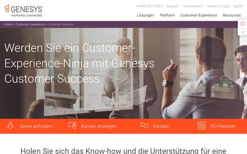 Screenshot of Services Page genesys.com - Erreichen Sie eine herausragende Customer Experience | Genesys Customer Success - captured Sept. 19, 2018