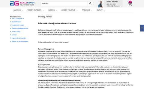 Screenshot of Privacy Page gullegever.nl - Privacy Policy - Gullegever - captured Sept. 10, 2017