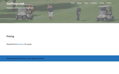Screenshot of Pricing Page golfdays.net - Pricing - Golfdays.net - captured June 13, 2016