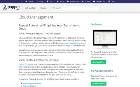 Screenshot of puppetlabs.com - Cloud Management | Puppet Labs - captured March 19, 2016