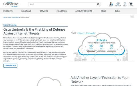 Screenshot of Signup Page connection.com - Cisco Showcase: Cisco Umbrella - captured Aug. 3, 2019